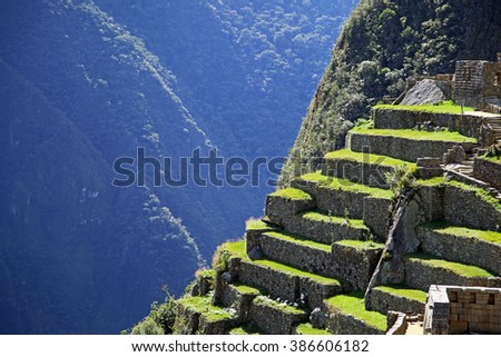 Machu Picchu, an Incan Citadel high in the Andes Mountains of Peru - stock photo