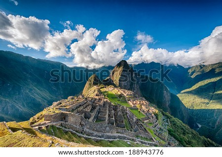 Machu Picchu an over view above the lost city - stock photo