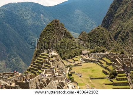 Machu Picchu, Cusco, Peru, South America. A UNESCO World Heritage Site - stock photo