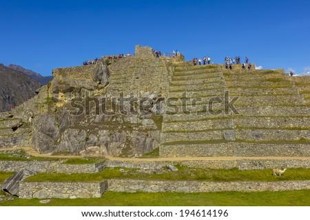 Machu Picchu, Inca ruins at Cuzco Peru - stock photo