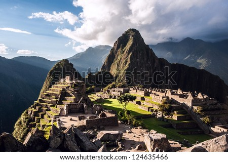 Machu Picchu, Peruvian Andes, Sacred Valley, Peru - stock photo