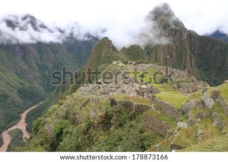 Machu Picchu, pre-Columbian 15th century Inca city - stock photo