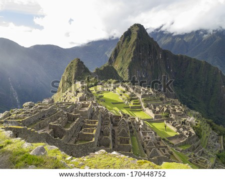 Machu Picchu, the lost city of the Andes, Cusco, Peru - stock photo
