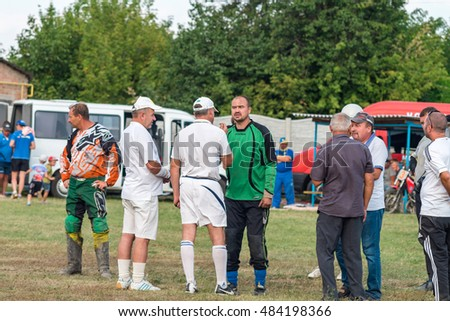 MACHUHY, UKRAINE - SEPTEMBER 11, 2016: Moments during the match of the motoball championship of Ukraine.