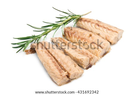 mackerel fillets isolated on white background