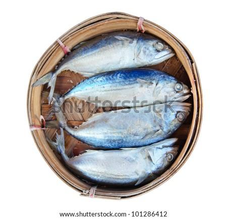 Mackerel fish in bamboo basket - stock photo