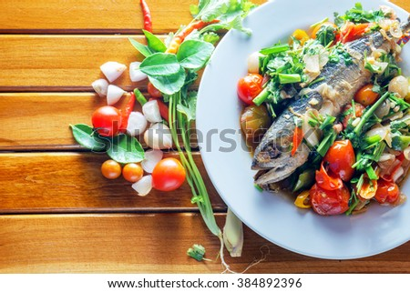 Mackerel fish salt, Thai food, Still life stly, copy space - stock photo