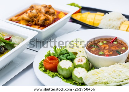 Mackerel , nam phik krapi Thailand location food with shrimp paste and vegetable - stock photo