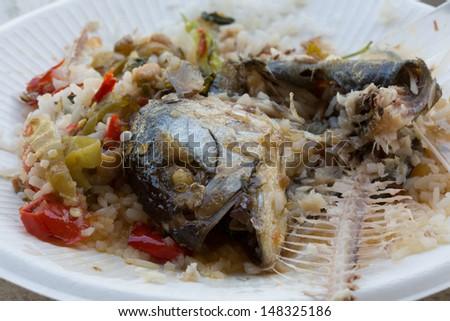 Mackerel on food scraps  - stock photo