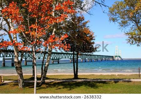 Mackinac bridge - stock photo