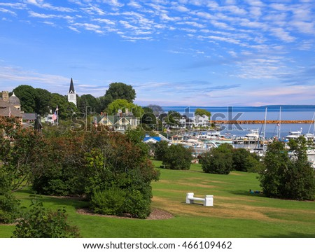 Mackinac City on Mackinac Island in the Straits of Mackinac Between Michigan's Upper And Lower Peninsulas on a beautiful Summer afternoon, Michigan, USA