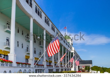 Mackinaw Island, Michigan. USA. July 8, 2015 - The beautiful Grand Hotel located on Mackinaw Island opened in 1887. At 660 feet long the hotel boasts of having the largest front porch in the world.
