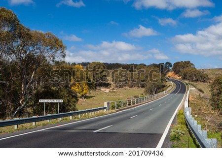 Maclaughlin River crossing and bridge near Cooma on a sunny in autumn day in New South Wales, Australia