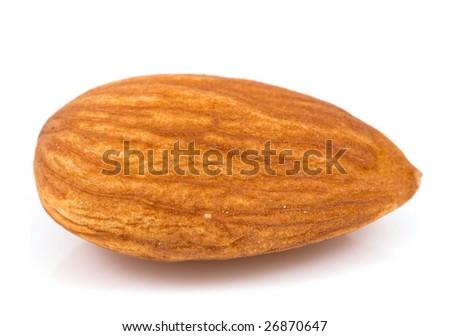 Macro almond isolated on a white - stock photo