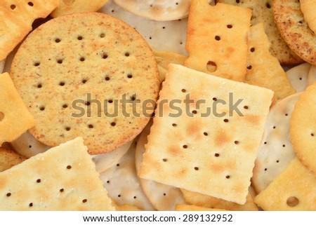 macro assorted crackers - stock photo