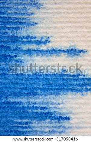 Macro Blue Watercolor on Textured paper 7 - stock photo