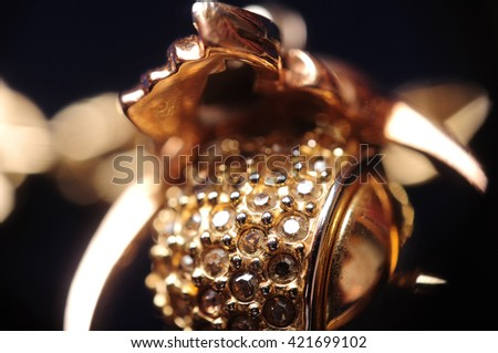 macro blurred jewelry with shallow depth of field