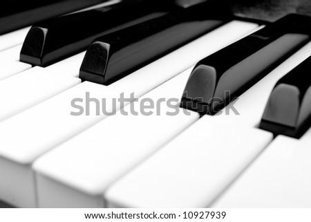 macro close up of piano keyboard - stock photo