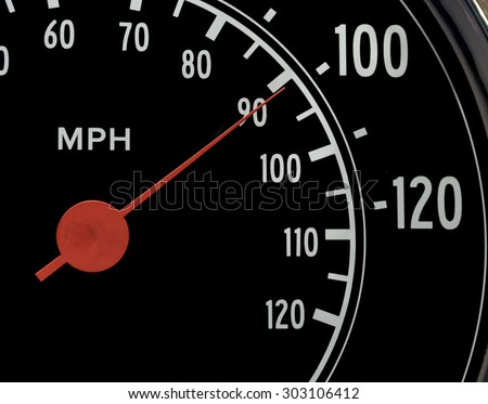 Macro Close-Up of Speedometer with Red Gauge at 100 MPH - stock photo
