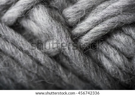 Macro Close up of Wool Yarn Treads in Gray Color  - stock photo