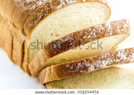 Macro closeup of freshly baked slices of white bread