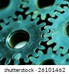 Macro detail of old gears. - stock photo