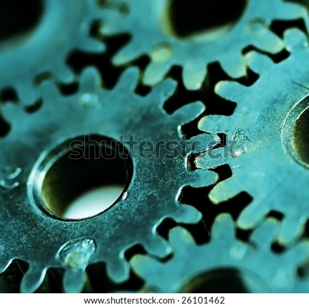 Macro detail of old gears.