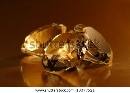 Macro detail of three jewels. - stock photo