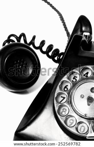 macro detail of vintage Bakelite telephone - stock photo