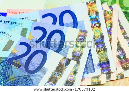 Macro details of 20 Euro notes laid out as fan. European currency money background.  - stock photo
