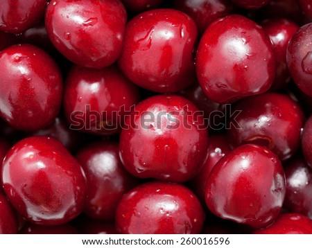 Macro. Fresh sweet cherries. Food fruit background - stock photo