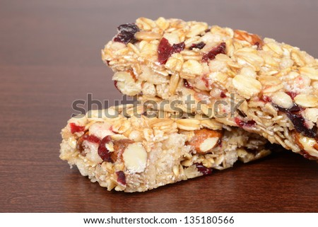 macro fruit nut granola bar shallow DOF - stock photo