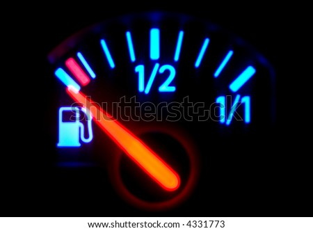 Macro full frame of a fuel gauge, dash board, technical - stock photo