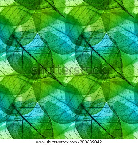 Macro green leaves seamless background - stock photo