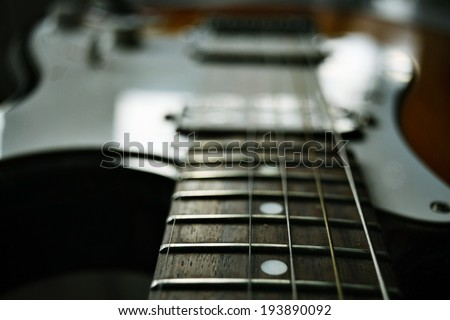 macro guitar music - stock photo