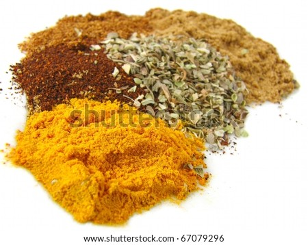 Macro Herbs & Spices isolated on white background