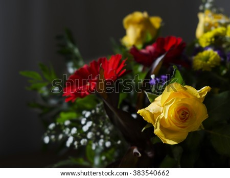 Macro image, colorful flowers (roses) bouquet - stock photo