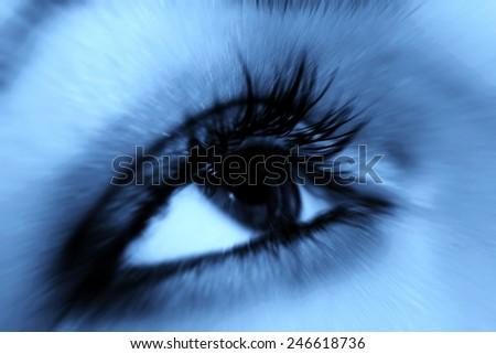 Macro image of a black eye - stock photo