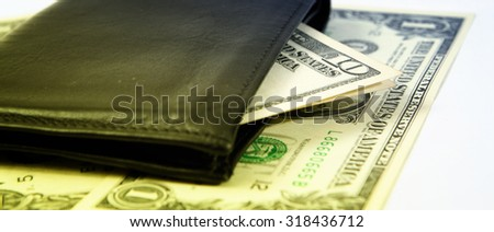 Macro image of a black leather wallet