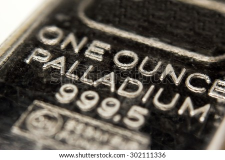 Macro image of a one ounce Palladium bar - stock photo