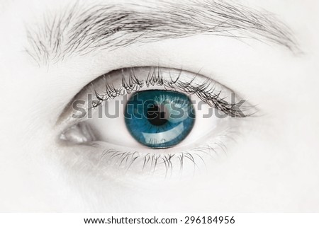 Macro image of blue eye, black and white photo - stock photo