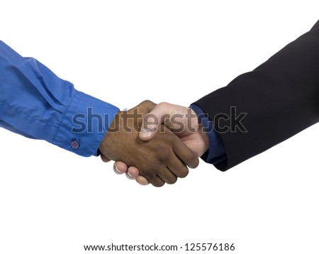Macro image of businessmen shaking hand. Model: WInter Bourne