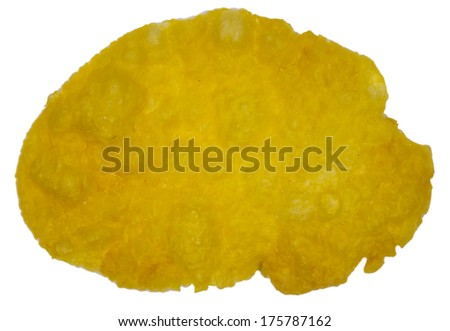 Macro image of one corn flake on white