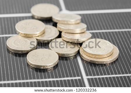Macro image of Photovoltaic solar panel. Money ���£���£'s. - stock photo