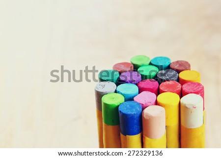 macro image of various colorful crayons  - stock photo