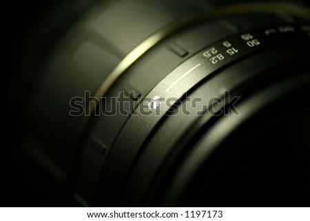 Macro lens. Focus on the macro symbol. - stock photo