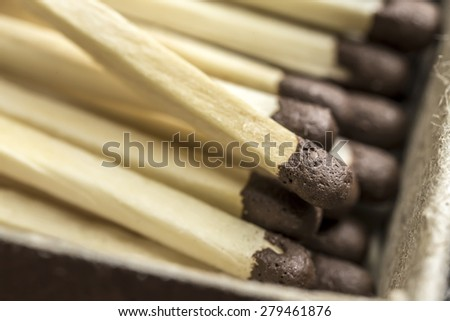 Macro matches are unused in a matchbox - stock photo