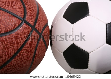 Macro of a basketball and a soccer ball - stock photo