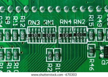 Macro of a circuit board - stock photo