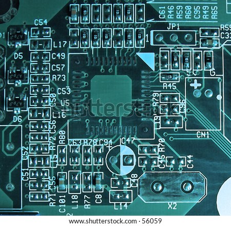 Macro of a circuit board with a blue tone.